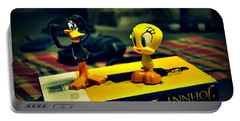 Daffy Tweety And Johnny Portable Battery Charger by Salman Ravish