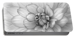 Dahlia Flower Black And White Portable Battery Charger