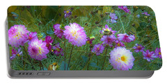 Dahlias And Cosmos  Portable Battery Charger by Judy Via-Wolff