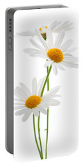 Daisies On White Background Portable Battery Charger