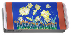 Portable Battery Charger featuring the painting Daisies by Ron Davidson