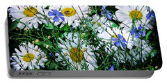 Daisies With Blue Flax And Bee Portable Battery Charger