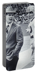 Dallas Cowboys Coach Tom Landry And Quarterback #12 Roger Staubach Portable Battery Charger