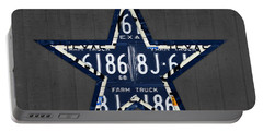 Dallas Cowboys Football Team Retro Logo Texas License Plate Art Portable Battery Charger by Design Turnpike