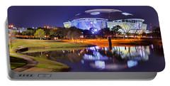 Dallas Cowboys Stadium At Night Att Arlington Texas Panoramic Photo Portable Battery Charger