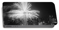 Dallas Reunion Tower Fireworks Bw 2014 Portable Battery Charger
