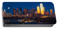 Dallas Skyline Panorama Portable Battery Charger by Inge Johnsson