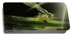 Damsel Dragon Fly  With Sparkling Reflection Portable Battery Charger by Peter v Quenter