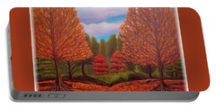 Portable Battery Charger featuring the painting Dance Of Autumn Gold With Blue Skies Revised by Kimberlee Baxter