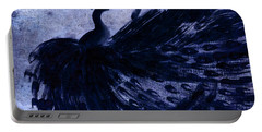 Dancing Peacock Navy Portable Battery Charger by Anita Lewis