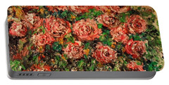 Portable Battery Charger featuring the painting Dancing Red Roses by Laurie L