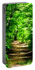 Dappled Sunlit Path In The Forest Portable Battery Charger