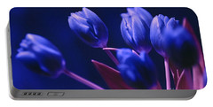 Dark Blue Tulips Portable Battery Charger