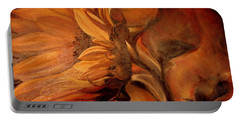 Portable Battery Charger featuring the painting Dark Sunflower by Sorin Apostolescu