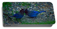 Darling I Have To Tell You A Secret-sweet Stellar Jay Couple Portable Battery Charger by Eti Reid
