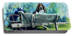 Portable Battery Charger featuring the painting Darn Dog Days by Hanne Lore Koehler