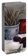 Portable Battery Charger featuring the painting Dates Lemongrass And Mango by Randy Wollenmann