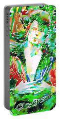 David Bowie Watercolor Portrait.2 Portable Battery Charger