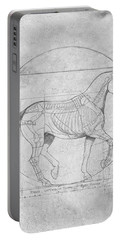Da Vinci Horse Piaffe Grayscale Portable Battery Charger by Catherine Twomey