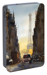 Dawn In Paris Portable Battery Charger by James Nyika