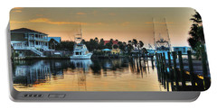 Dawn On A Orange Beach Canal Portable Battery Charger