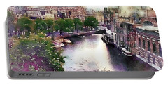 Portable Battery Charger featuring the photograph Dawn Rain Amsterdam by Susan Maxwell Schmidt