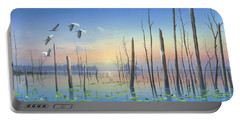 Portable Battery Charger featuring the painting Dawns Early Light by Mike Brown