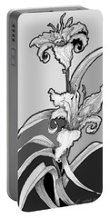 Portable Battery Charger featuring the digital art Day Lillies by Carol Jacobs