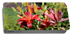 Day Lillies In The Garden Portable Battery Charger