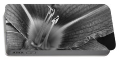 Day Lily In Black And White Portable Battery Charger