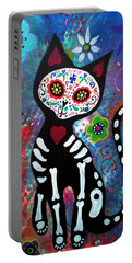 Day Of The Dead Cat Portable Battery Charger by Pristine Cartera Turkus