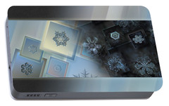 Portable Battery Charger featuring the photograph Snowflake Collage - Daybreak by Alexey Kljatov