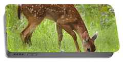 Portable Battery Charger featuring the photograph Little Fawn Blue Wildflowers by Nava Thompson