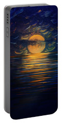 December Full Moon Peace Over The Ocean Portable Battery Charger
