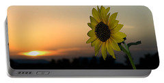 Portable Battery Charger featuring the photograph Sunflower And Sunset by Mae Wertz