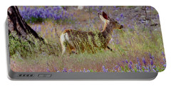 Deer In The Meadow Portable Battery Charger by Debby Pueschel