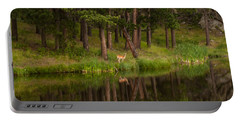 Deer In The Mist Portable Battery Charger by Steven Reed