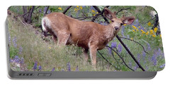 Deer In Wildflowers Portable Battery Charger by Athena Mckinzie