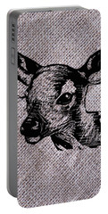 Deer On Burlap Portable Battery Charger