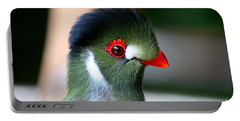Delicate Green Turaco Bird With Red Beak White Patches And Black Crown Portable Battery Charger