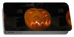Portable Battery Charger featuring the sculpture Demented Mister Ullman Pumpkin 2 by Shawn Dall
