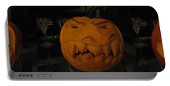 Portable Battery Charger featuring the sculpture Demented Mister Ullman Pumpkin 3 by Shawn Dall