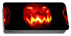 Portable Battery Charger featuring the sculpture Demented Mister Ullman Pumpkin by Shawn Dall