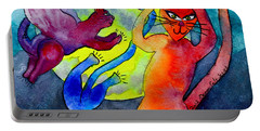 Demon Cats Dance By The Light Of The Moon Portable Battery Charger
