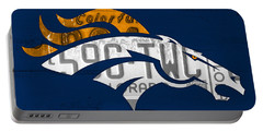 Denver Broncos Football Team Retro Logo Colorado License Plate Art Portable Battery Charger by Design Turnpike