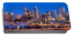 Denver Skyline At Dusk Evening Color Evening Extra Wide Panorama Broncos Portable Battery Charger