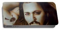 Johnny Depp - ' Depp II ' Portable Battery Charger by Christian Chapman Art