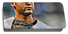 Derek Jeter Portrait Portable Battery Charger by Florian Rodarte