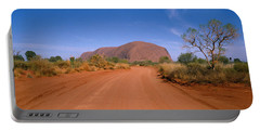 Desert Road And Ayers Rock, Australia Portable Battery Charger