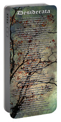 Desiderata Inspiration Over Old Textured Tree Portable Battery Charger